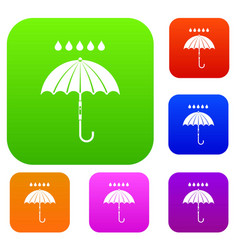 Umbrella and rain drops set collection vector