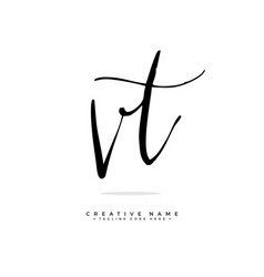 V t vt initial logo signature handwriting vector