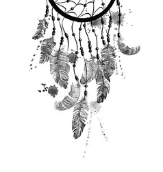 Watercolor with dreamcatcher vector image