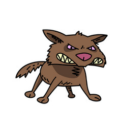 Wild dog cartoon hand drawn image vector
