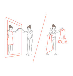 Woman standing and looking in mirror flat style vector