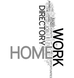 work at home directory text word cloud concept vector image