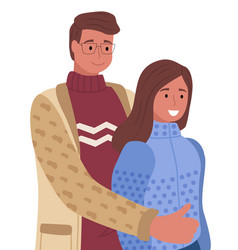 Young couple posing man hug girlfriend happiness vector