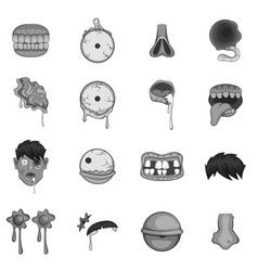 Zombie parts icons set monochrome vector