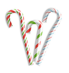 3d xmas candy cane set isolated on white vector