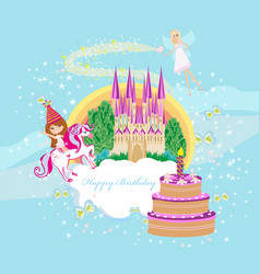 girl on a unicorn - birthday card vector image