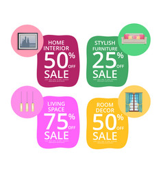 Home interior room decor living space sale banners vector