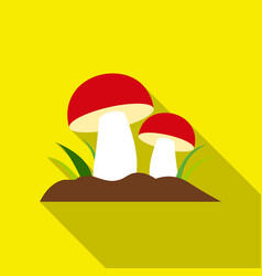 mushroom icon flat single plant icon from the big vector image vector image