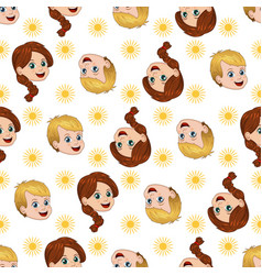 seamless pattern with happy boy and girl sun vector image
