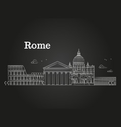 white linear rome panorama with famous buildings vector image