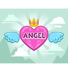 Cute girlish with angel heart vector image