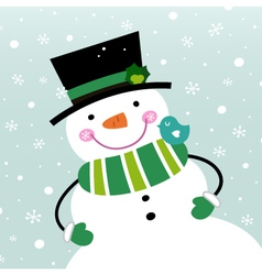 Cute winter Snowman isolated on snowing background vector image vector image