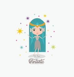 elf princess fantastic character and colorful vector image