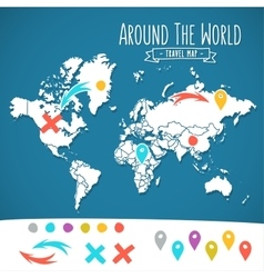 Hand drawn world map with pins and arrows vector image vector image