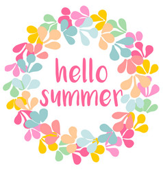 hello summer watercolor wreath card isolated vector image