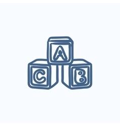 Alphabet cubes sketch icon vector image vector image