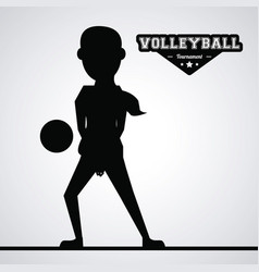 Black silhouette faceless woman volleyball player vector