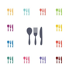 cutlery flat icons set vector image vector image