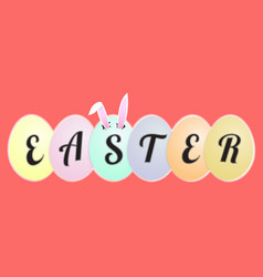 funny easter greeting card rabbit ears in the egg vector image vector image