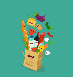 funny various cartoon vegetables clip art vector image vector image