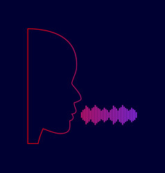 people speaking or singing sign line icon vector image