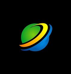 planet globe sphere color logo vector image