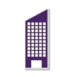 silhouette with skyscraper building purple vector image vector image