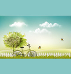 spring nature meadow landscape with a bicycle vector image