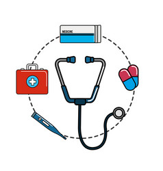 tethoscope with hospital tools icon vector image