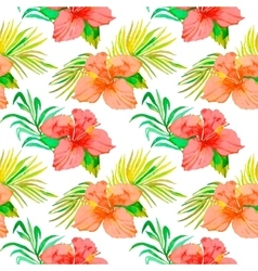 Tropical pattern Hibiscus monstera leaf palm vector image