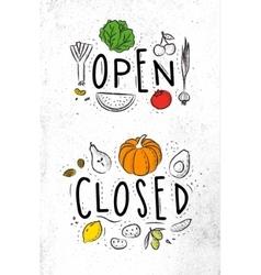 Eco signboard open close color vector image