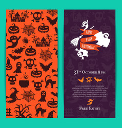 halloween party thin invitation card vector image