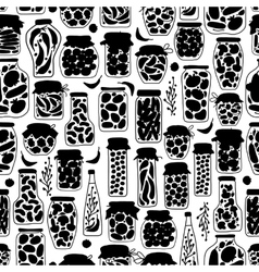 Seamless pattern with pickle jars fruits and vector image vector image