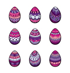 Set of nine colorful easter eggs vector image