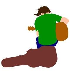 Silhouette musician guitar player sitting on the vector image vector image