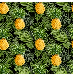 Tropical Palm Leaves and Pineapples Background vector image