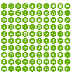 100 app icons hexagon green vector