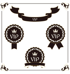 a set of elegant vip label and ribbon it is vector image