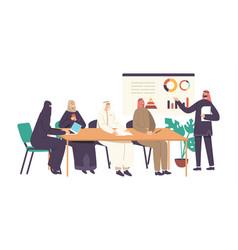 Arab businessmen and businesswomen in office vector