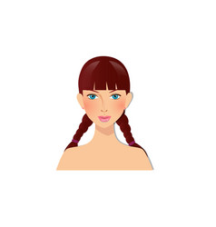 Beautiful girl with blue eyes and brown hair vector