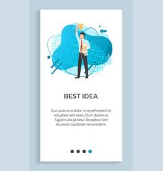 Best idea businessman with lightbulb vector