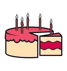 Birthday party celebration cake icon vector image