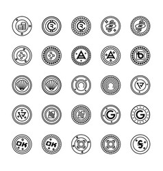 Bitcoin and cryptocurrency icons collection vector