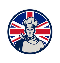 British baker chef union jack flag icon vector
