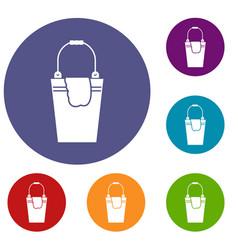 Bucket and rag icons set vector