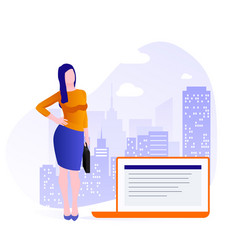 business woman stands with briefcase on the vector image