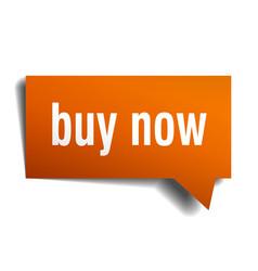 Buy now orange 3d speech bubble vector