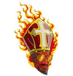 Cartoon sly red devil man in burning bishop mitre vector