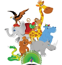Cheerful zoo cartoon vector