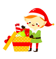 Christmas elf cute santa helper pack gifts vector